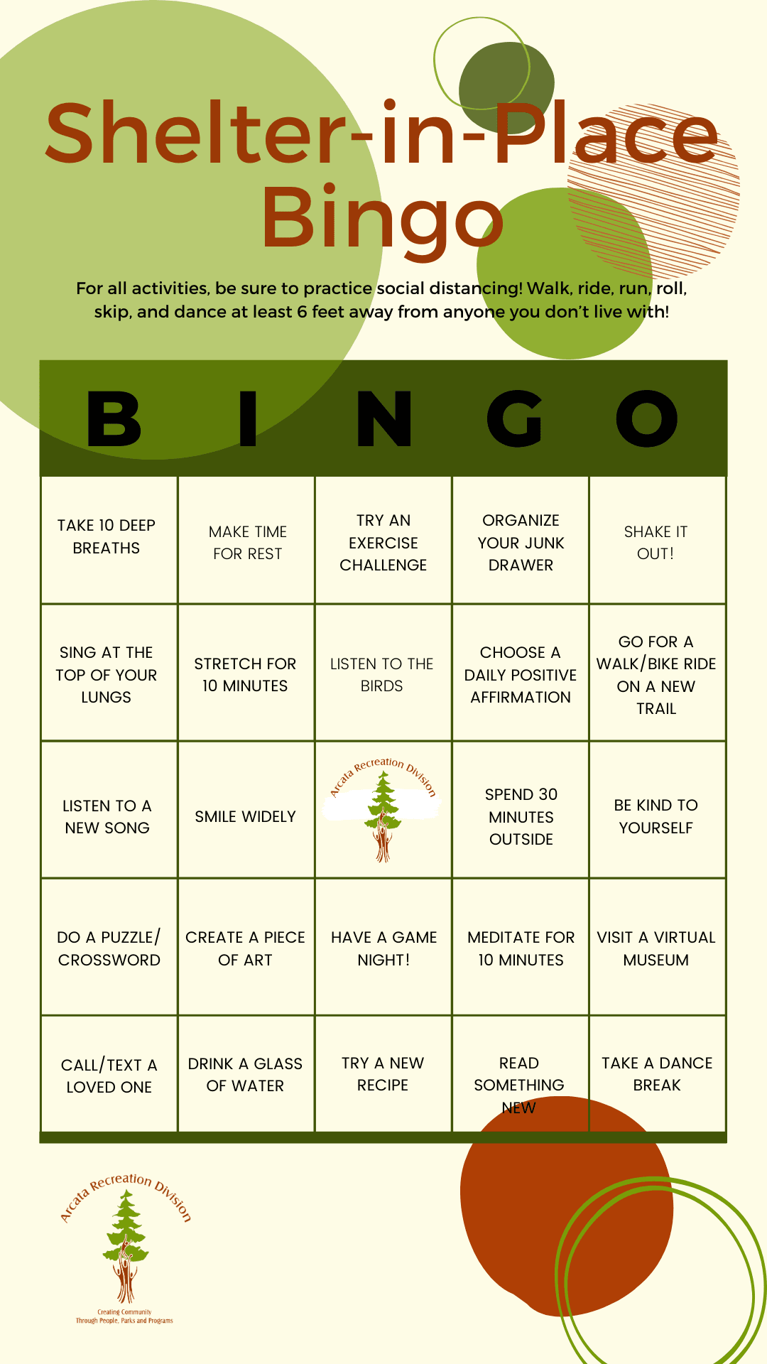 Shelter-in-Place Bingo