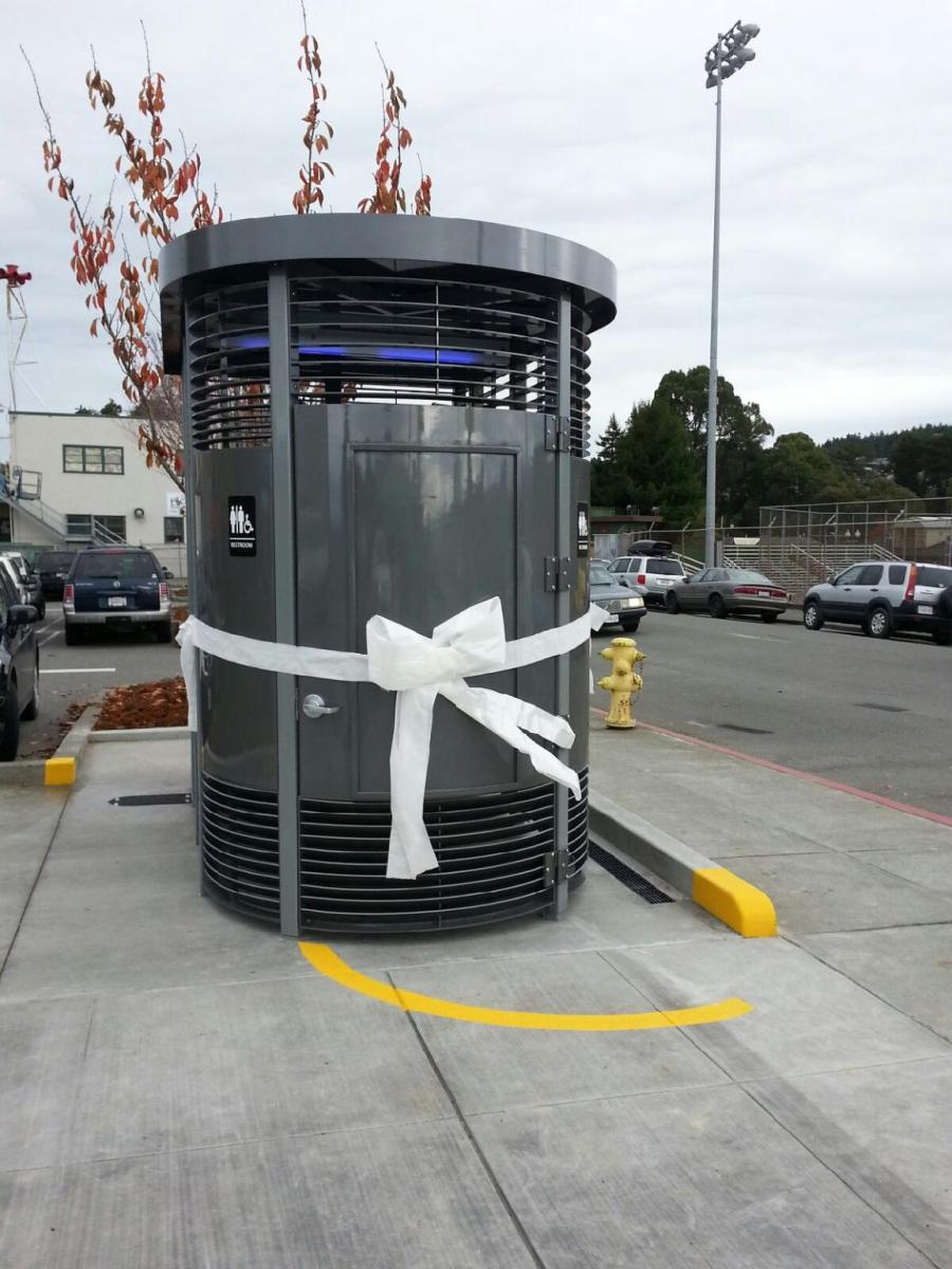 Installed Public Restroom Tied with Ribbon